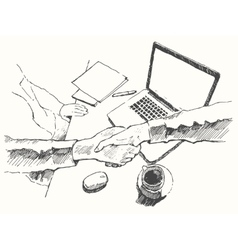 Sketch business handshake partnership top drawn vector image vector image