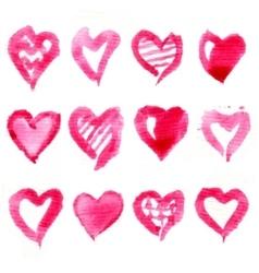 Big set of pink watercolor hearts vector image vector image