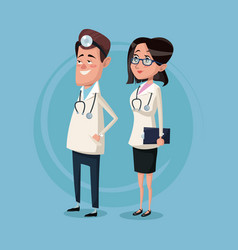 color background male and female team surgeons vector image