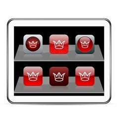 Crown red app icons vector image vector image
