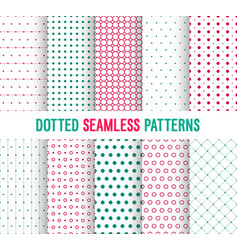 dotted seamless patterns collection vector image