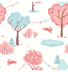 Seamless pattern with cute forest of love vector image