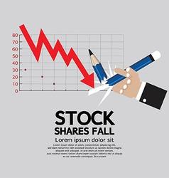 Stock shares fall vector