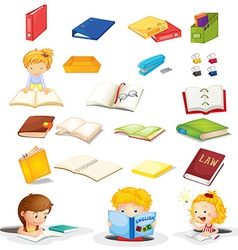 Students and their school supplies vector image vector image