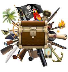 Treasure hunt concept with chest vector