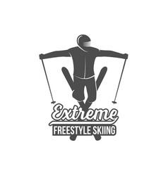vintage skiing label badge and design elements vector image