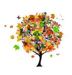 Autumn abstract tree vector image