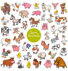 cartoon farm animal characters big set vector image