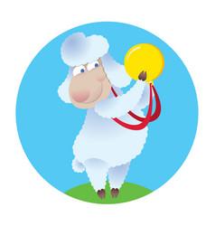 cartoon sheep holding gold medal vector image vector image