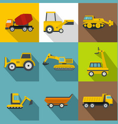 special machines for construction works icons set vector image
