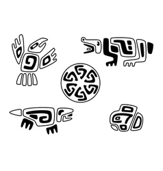 tribal stylized animals and solar circle vector image vector image