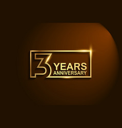 3 years anniversary golden design line style vector
