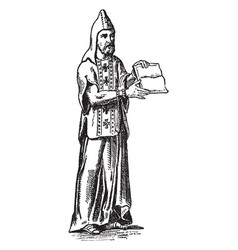 A monk with pointed hood and crosses on his vector