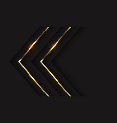 Abstract twin gold shadow arrow direction on black vector