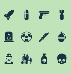 army icons set collection of rip fugitive vector image
