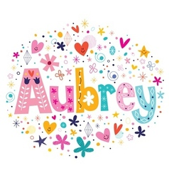 Aubrey female name decorative lettering type vector image