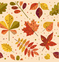 autumn tree leaves and fall foliage pattern vector image