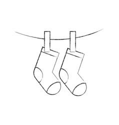 baby shower greeting socks hanging celebration vector image