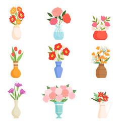 beautiful bright garden flowers in ceramic vases vector image