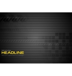 Black striped technology background with squares vector