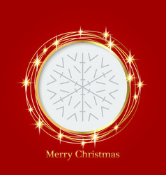bright red background with christmas ornaments vector image