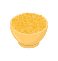 bulgur in wooden bowl isolated groats in wood vector image