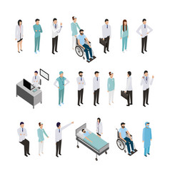 Bundle professional medical staff and icons vector