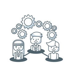business person with set line icons vector image