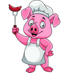 Cartoon happy pig chef holding a sausage on fork vector