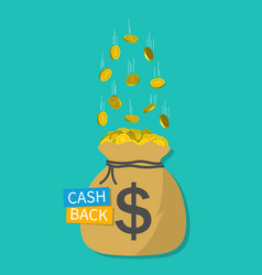 cash money in sack cashback icon gold dollar vector image