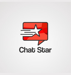 chat star logo icon element and template vector image