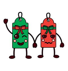 Christmas kawaii label cartoon character bow vector