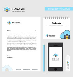 cloud protected business letterhead calendar 2019 vector image