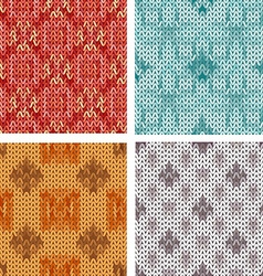 Collection seamless knitted geometric patern vector