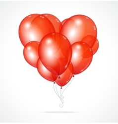 Color glossy balloons heart red vector