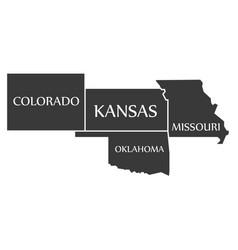 Colorado - kansas - oklahoma - missouri map vector