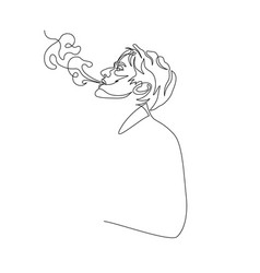 Continuous one line man exhale smoke cigarette vector