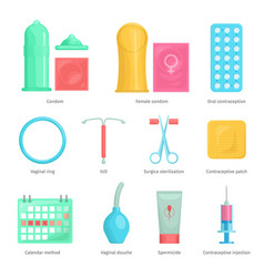 Contraception methods cartoon icons vector