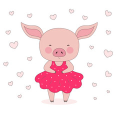 Cute pig in dress vector