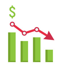 Declining graph flat icon business and finance vector