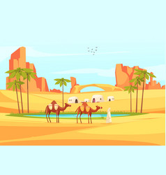 Desert oasis camels composition vector