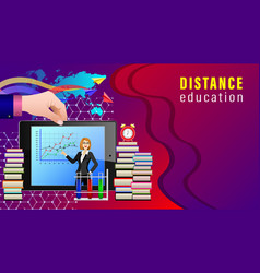Distance education mobile learning vector