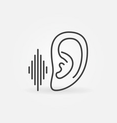Ear with sound wave listen concept outline vector