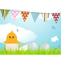Easter chick and bunting vector image