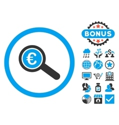 Euro Financial Audit Flat Icon with Bonus vector image vector image