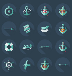 Flat concept set modern design with shadow sailing vector