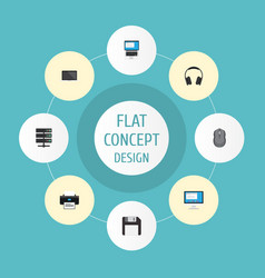 Flat icons printer display diskette and other vector