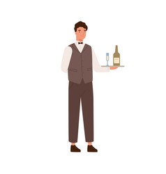 friendly male waiter holding tray with bocal vector image