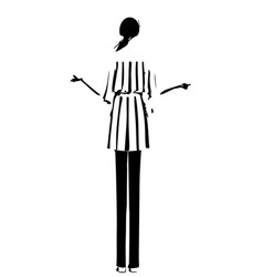 girl standing behind fashion models sketch vector image
