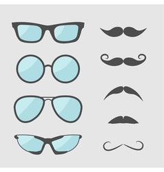 Glasses and mustache moustaches icon set Isolated vector